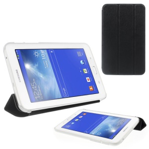 Toothpick Grain Tri-fold Leather + Plastic Case for Samsung Galaxy Tab 3 7.0 Lite T110 T111 - Black