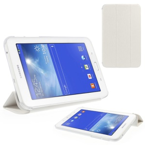 Toothpick Grain Tri-fold Leather Stand Case for Samsung Galaxy Tab 3 7.0 Lite T110 T111 - White