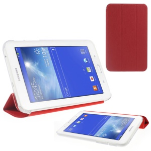 Toothpick Grain Tri-fold Leather Cover for Samsung Galaxy Tab 3 7.0 Lite T110 T111 - Red