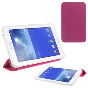 Toothpick Grain Tri-fold Leather Case Stand for Samsung Galaxy Tab 3 7.0 Lite T110 T111 - Rose