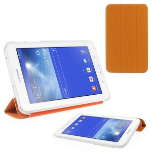Toothpick Grain Tri-fold Leather Shell for Samsung Galaxy Tab 3 7.0 Lite with Stand - Orange