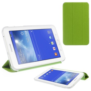 Toothpick Grain Tri-fold Leather Case for Samsung Galaxy Tab 3 7.0 Lite with Stand - Green