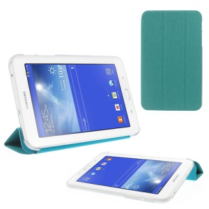 Toothpick Grain Tri-fold Leather Case for Samsung Galaxy Tab 3 7.0 Lite with Stand - Cyan