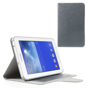 Oracle Grain Stand Leather Cover for Samsung Galaxy Tab 3 7.0 Lite T110 T111 w/ Card Slots - Grey