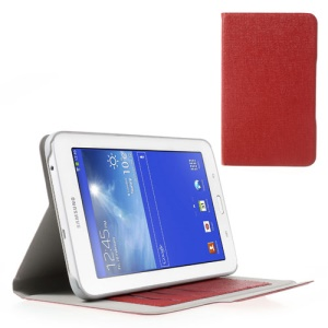 Oracle Grain Leather Tablet Case for Samsung Galaxy Tab 3 7.0 Lite T110 T111 w/ Card Slots - Red