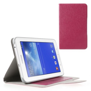Oracle Grain Credit Card Slots Leather Shell for Samsung Galaxy Tab 3 7.0 Lite T110 T111 - Rose