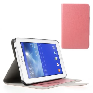 Oracle Grain Stand Leather Case Accessory for Samsung Galaxy Tab 3 7.0 Lite T110 T111 - Pink