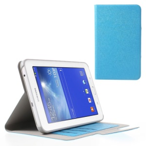For Samsung Galaxy Tab 3 7.0 Lite T110 T111 Oracle Grain Stand Leather Card Slots Case - Blue