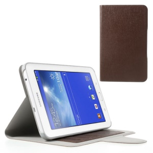 Oracle Grain Folio Leather Case Bracket for Samsung Galaxy Tab 3 7.0 Lite T110 T111 - Brown