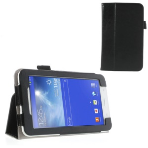 Black Crazy Horse Folio Leather Case for Samsung Galaxy Tab 3 7.0 Lite T110 T111