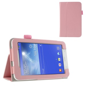 Pink for Samsung Galaxy Tab 3 7.0 Lite T110 T111 Crazy Horse Stand Leather Case