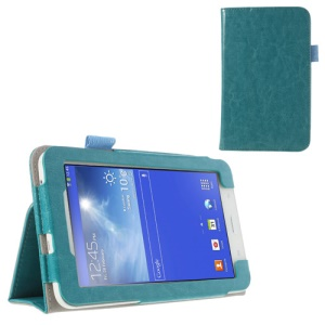 Cyan for Samsung Galaxy Tab 3 7.0 Lite T110 T111 Crazy Horse Leather Flip Cover