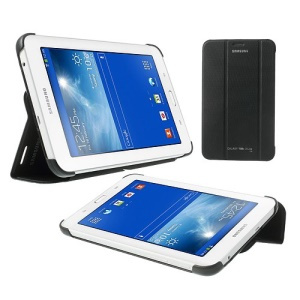 Tri-fold Leather Book Cover for Samsung Galaxy Tab 3 7.0 Lite T110 T111 - Black