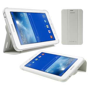 Magnetic Tri-fold Leather Book Cover for Samsung Galaxy Tab 3 7.0 Lite T110 T111 - White