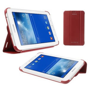 Magnetic Leather Book Cover Case for Samsung Galaxy Tab 3 7.0 Lite T110 T111 - Red