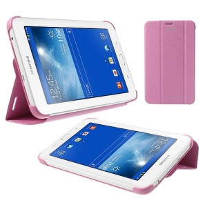 Magnetic Leather Book Cover for Samsung Galaxy Tab 3 7.0 Lite T110 T111 w/ Stand - Pink