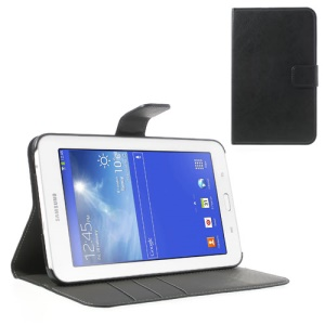 Black Crazy Horse Leather Stand Case for Samsung Galaxy Tab 3 7.0 Lite T111 T110