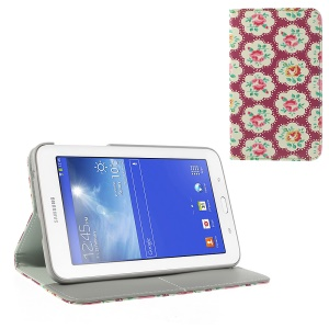 Blooming Rose Pattern Leather Flip Case w/ Card Slots & Stand for Samsung Galaxy Tab 3 7.0 Lite T110 T111