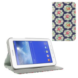 Blooming Rose Blue Background for Samsung Galaxy Tab 3 7.0 Lite T110 T111 Leather Flip Cover w/ Card Slots & Stand