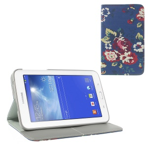 For Samsung Galaxy Tab 3 7.0 Lite T110 T111 Leather Flip Wallet Case w/ Stand Pretty Flowers Pattern