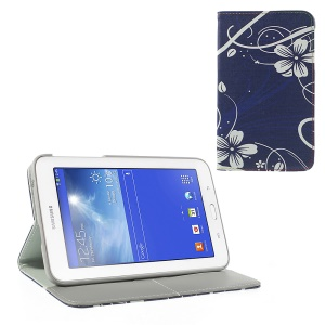 For Samsung Galaxy Tab 3 7.0 Lite T110 T111 Leather Flip Wallet Shell w/ Stand Elegant White Flowers Pattern