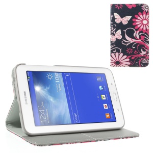 Butterflies & Flowers Pattern Leather Flip Cover w/ Card Slots & Stand for Samsung Galaxy Tab 3 7.0 Lite T110 T111