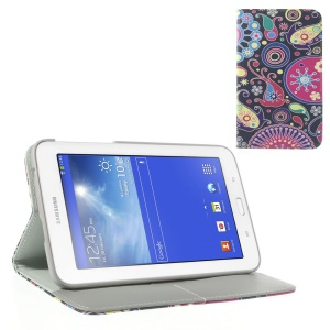 Colorful Floral Ribbon Leather Flip Case w/ Card Slots & Stand for Samsung Galaxy Tab 3 7.0 Lite T110 T111
