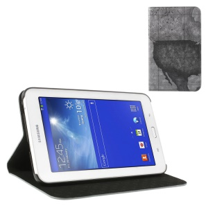 Grey for Samsung Galaxy Tab 3 7.0 Lite T110 T111 World Map Leather Skin Flip Cover w/ Stand