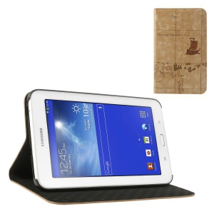 Brown World Map Pattern Protective Leather Case Stand for Samsung Galaxy Tab 3 7.0 Lite T110 T111