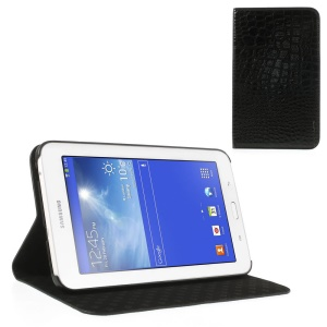 Black Stylish Sleek Crocodile Leather Case Stand for Samsung Galaxy Tab 3 7.0 Lite T110 T111