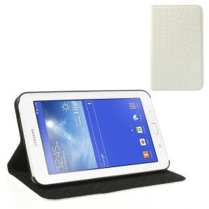 White Stylish Sleek Crocodile Leather Case Stand for Samsung Galaxy Tab 3 7.0 Lite T110 T111