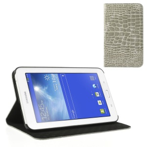 Grey Stylish Sleek Crocodile Leather Cover Stand for Samsung Galaxy Tab 3 7.0 Lite T110 T111