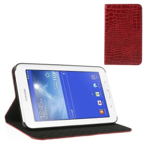 Red Stylish Sleek Crocodile Leather Flip Cover Stand for Samsung Galaxy Tab 3 7.0 Lite T110 T111