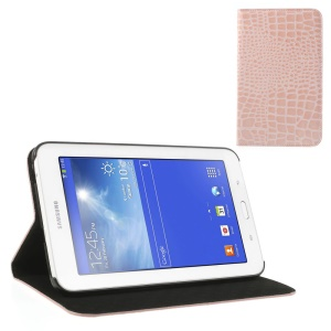 Pink for Samsung Galaxy Tab 3 7.0 Lite T110 T111 Crocodile Leather Skin Cover w/ Stand