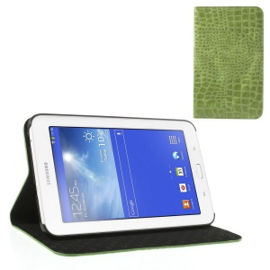Green for Samsung Galaxy Tab 3 7.0 Lite T110 T111 Crocodile Leather Skin Cover w/ Stand