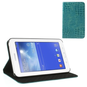 Blue for Samsung Galaxy Tab 3 7.0 Lite T110 T111 Crocodile Leather Flip Case w/ Stand