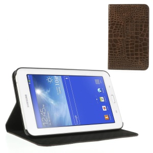 Brown Crocodile Texture Leather Flip Shell w/ Stand for Samsung Galaxy Tab 3 7.0 Lite T110 T111