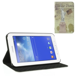 USA the Statue of Liberty Retro Cross Grain Leather Case w/ Stand for Samsung Galaxy Tab 3 7.0 Lite T110 T111