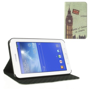 Retro UK Big Ben Cross Leather Stand Cover for Samsung Galaxy Tab 3 7.0 Lite T110 T111