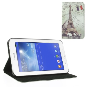 Eiffel Tower Vintage Design Leather Skin Cover w/ Stand for Samsung Galaxy Tab 3 7.0 Lite T110 T111