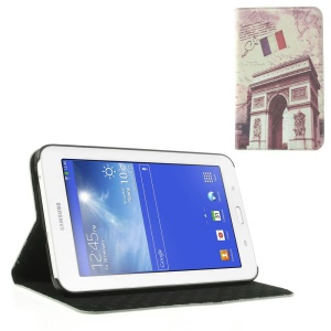 For Samsung Galaxy Tab 3 7.0 Lite T110 T111 Retro France Triumphal Arch Leather Flip Cover Stand