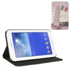 For Samsung Galaxy Tab 3 7.0 Lite T110 T111 Italian the Leaning Tower of Pisa Vintage Leather Flip Case Stand
