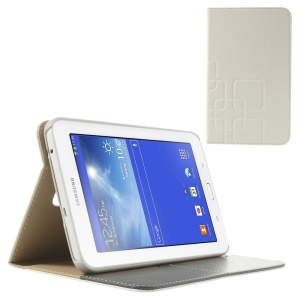 White Grid Design Crazy Horse Leather Stand Cover for Samsung Galaxy Tab 3 7.0 Lite T111 T110