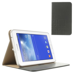 Grey Grid Design Crazy Horse Leather Flip Case for Samsung Galaxy Tab 3 7.0 Lite T111 T110