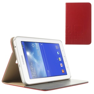 Red Grid Design Crazy Horse Leather Flip Cover for Samsung Galaxy Tab 3 7.0 Lite T111 T110