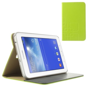Green Grid Design Crazy Horse Leather Cover w/ Stand for Samsung Galaxy Tab 3 7.0 Lite T111 T110