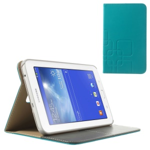 Baby Blue Grid Design Crazy Horse Leather Card Holder Case for Samsung Galaxy Tab 3 7.0 Lite T111 T110