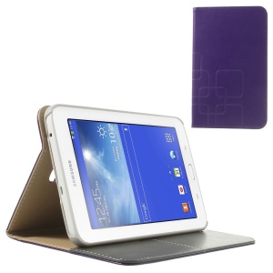 Purple Grid Design Crazy Horse PU Leather Case for Samsung Galaxy Tab 3 7.0 Lite T111 T110