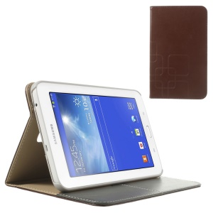 Brown Grid Design Crazy Horse PU Leather Cover for Samsung Galaxy Tab 3 7.0 Lite T111 T110