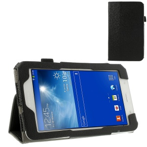 Black Cross Grain Magnetic Leather Case for Samsung Galaxy Tab 3 7.0 Lite T110 T111 w/ Elastic Band